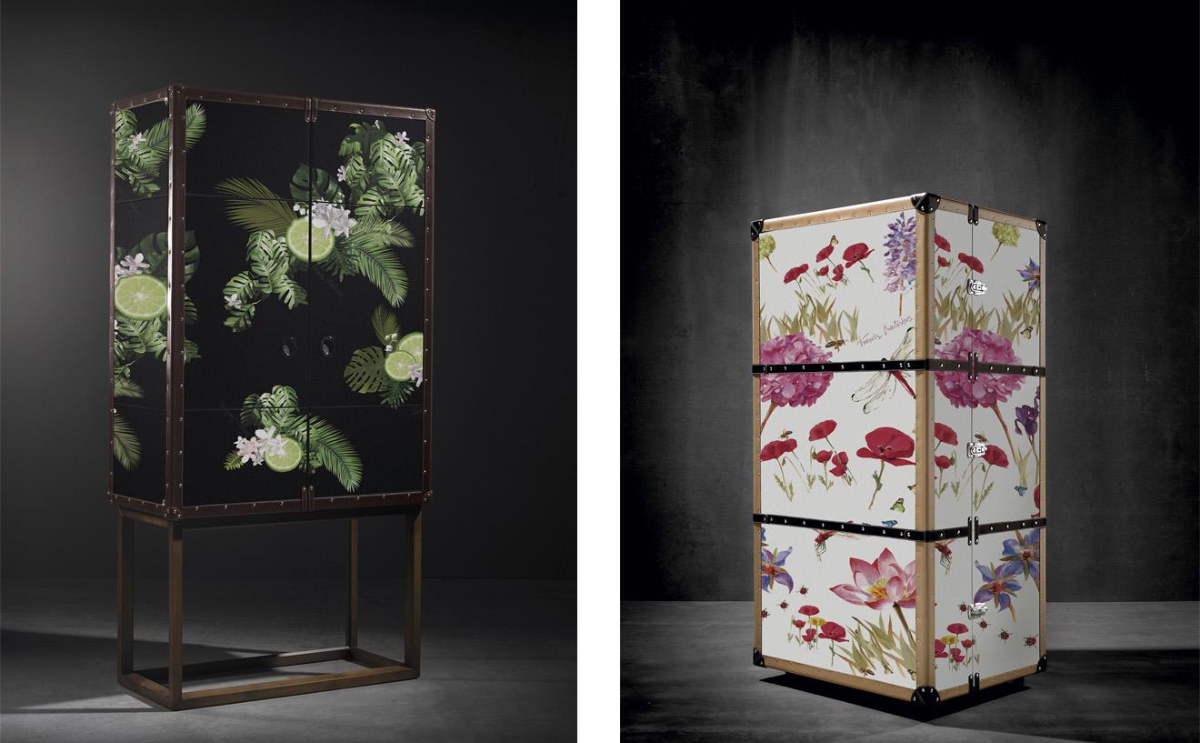Mueble bar Traveler tapizado con una tela negra con limones y el mueble bar móvil traveler tapizado con una tela de flores de Francis Montesinos